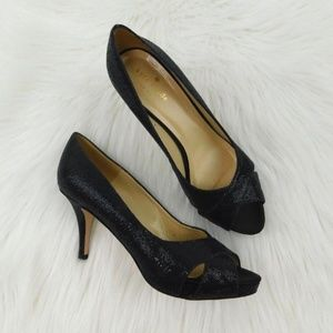 Kate Spade Billie Glitter Peep Toe Platform Heels